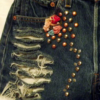 Sale Studs n Roses Cut Offs Vintage High Waisted Blue by twazzy