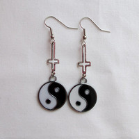 inverted cross yin yang earrings by neonmagic on Etsy