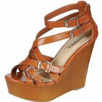 MULTI STRAP BUCKLE DESIGN WEDGE-Wedges-wedge heels,leopard wedges,suede wedges,Sexy wedges,white wedges,black wedges,sexy wedges,Silver Wedge