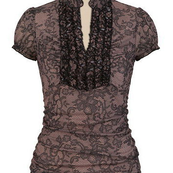 Lace Print Ruffle Split Neck Top - maurices.com