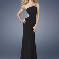 Chiffon One Shoulder A Line Slit Skirt And Sexy Back Prom Dress - Basadress.com