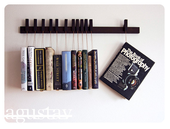 RESERVED Custom made wooden book rack in Wenge Pins by OldAndCold