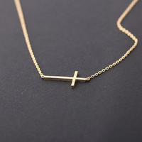 sideways cross necklace  bythecococom by withthecoco on Etsy