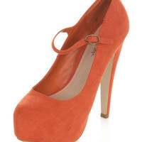 Super Orange Mary Jane Heel - View All  - Shoes  - Miss Selfridge