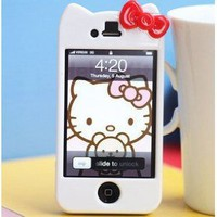 iPhone 4G/4S Hello Kitty Face Hard Case/Cover/Protector(White Case with Red Bow)
