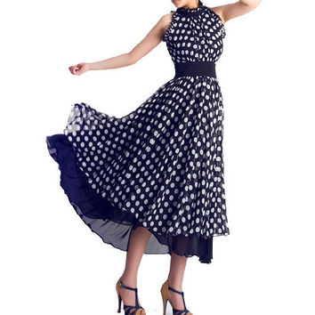 Womens chiffon dress with white dots 0055 by xiaolizi on Etsy