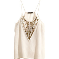 H&M - Top with Beaded Embroidery - Light beige - Ladies
