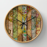 Around the World in Thirteen Maps Wall Clock by Maximilian San