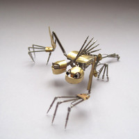 "Mechanical Creature ""Splitter"" Recycled Watch Parts Organism Justin Gershenson-Gates Faces Stems Gears Arthropod Clockwork Robot Insect"