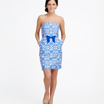 Shell Tile Strapless Dress