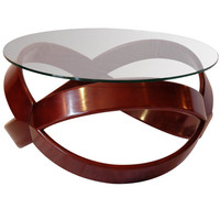 Habite LA - Italian Beech &amp; Glass Top Bentwood Round Side/coffee Table - 1stdibs