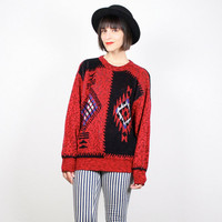 Vintage 80s Sweater Black Red Knit Jumper Southwestern Pullover 1980s South Western Navajo Boho Chunky Knit Aztec Cosby Sweater M L Large