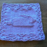 Hand Knit Lovely Lavender Beautiful Bunny Dish Cloth or Wash Cloth | hollyknittercreations - Knitting on ArtFire