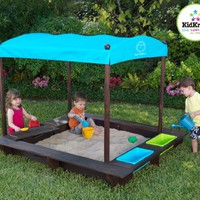 Sun Smarties Wood Sandbox with Canopy TURQUOISE