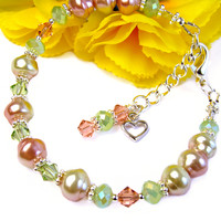 Pastel Pink and Green Pearl Bracelet Adjustable Heart Charm Crystals | PrettyGonzo - Jewelry on ArtFire
