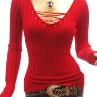 Patty Women Corset V-Neck Ribbed Long Sleeve Knit Jumper Top