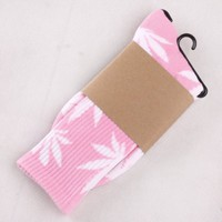 One Pair New Plantlife Marijuana Weed Leaf Cotton High Socks Men/women BJF25 (Pink White leaf BJF25-J-19)