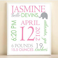Nursery Art Birth Stats Modern Elephant Baby Girl Custom Name Typography Nursery Decor Print: 8x10 or 11x14 Poster in Pink Gray Mint