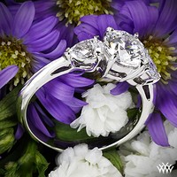 18k White Gold Round and Pear 3 Stone Engagement Ring for 0.50ct Center Diamond (0.25ctw pear side diamonds included)
