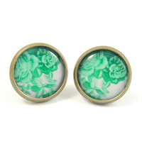 Green and White Floral Earring Studs Bronze Summer by MistyAurora