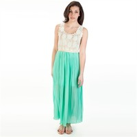 Double Zero Juniors Daisy Lace Pleated Maxi Dress at Von Maur
