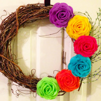 Rose Felt Flowers and Twig Wreath in Bright Colors