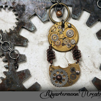 Pocket Watch Pendant Statement Necklace - SteamPunk, Vintage, SciFi, Industrial, Assemblage