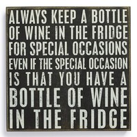 Primitives by Kathy 'Always Keep a Bottle of Wine' Box Sign