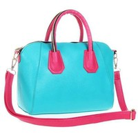 Contrast Color Tote Handbag Cross Body Shoulder Bag