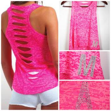 Personalized Cut Out Burnout Tank, Initial Tank Top, Workout Tank, Crossfit Tank Top, Gym Tank