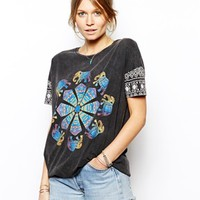 ASOS T-shirt in Acid Wash with Henna Elephant Print