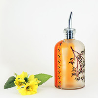 Olive branch painted oil bottle - Hand painted glass dispenser for oil, vinegar, soap or detergent