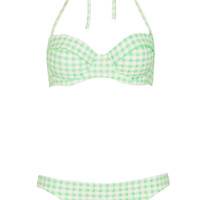 Apple Green Gingham Bikini