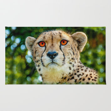 CHEETAH PORTRAIT Area & Throw Rug by Catspaws