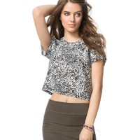 Printed Crop Crew Top