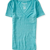 Marled Burnout V-Neck Pocket Tee