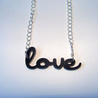 Love Typographic Acrylic Necklace