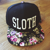 Floral SLOTH Snap Back