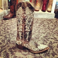 """Leather And Lace AKA """"The Wedding Boot"""" Corral Boots"""