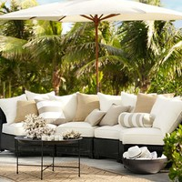 PALMETTO ALL-WEATHER WICKER ROUNDED SECTIONAL SET - BLACK