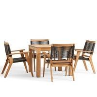 MADERA TEAK SQUARE FIXED DINING TABLE & PALMER STACKING CHAIR SET