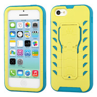 TUFF Treadz Hybrid Stand Case for Apple iPhone 5C - Yellow/Teal