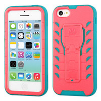 TUFF Treadz Hybrid Stand Case for Apple iPhone 5C - Baby Red/Teal