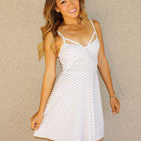 'Del Mar' Striped Skater Dress