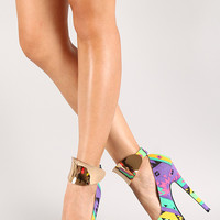 Nicole Rasta Tribal Metallic Shield Ankle Cuff Stiletto Platform Pump