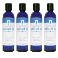 SpaMaster Essentials Unscented Massage Oil 8oz - Pack of 4