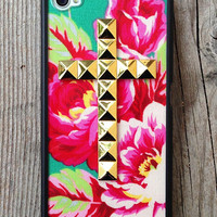 Teal Rose Gold Studded Cross iPhone 4/4s case