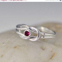 Easter Sale Infinity Knot Birthstone Ring - Red Ring - July Birthstone Ring - Infinity Knot Jewelry - Birthstone Ring - Ruby Red Gemstone