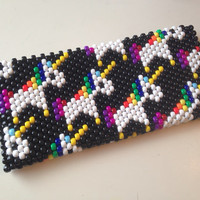 Beaded Purse, Unicorn Clutch Purse, Kawaii Clutch, Beaded Bag, Beaded Clutch