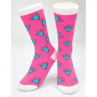 "CREW SOCKS - ""DIAMONDS"" PINK"